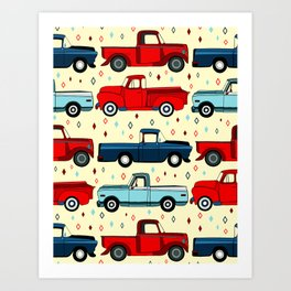 Winter Vintage Trucks Art Print