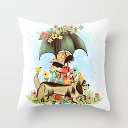 Rain on the green grass, Rain on the tree, Rain on the housetop, But not on me Throw Pillow
