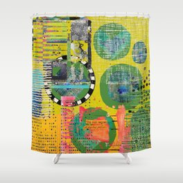 Colorful Circle Cut-out Abstract Art  Shower Curtain