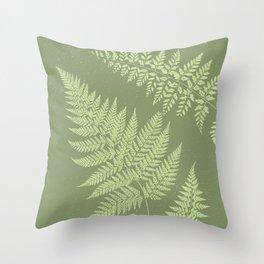 Dark olive fern Throw Pillow