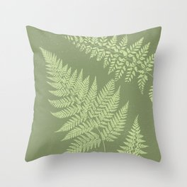 Dark olive fern Throw Pillow