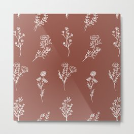 Botanical Wildflowers Line Art Metal Print