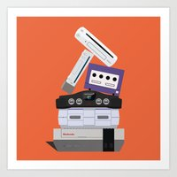 nintendo Art Prints featuring Nintendo Consoles by Michael Walchalk
