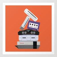 nintendo Art Prints featuring Nintendo Consoles by Michael Walchalk