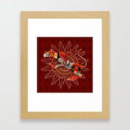 Red Lion Batik Framed Art Print