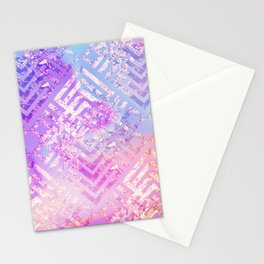 Holographic Glam - Geometric Pattern on Holo Effect Background Stationery Cards
