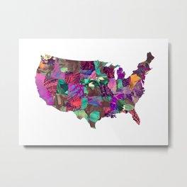 USA map art 3 #usa #map Metal Print