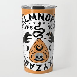 Orange And Black Modern Ouija Board With Ravens Travel Mug