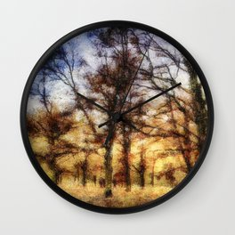 Pastel Sunset Trees Wall Clock