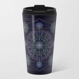 Neon Geometry in Blue Mandala Travel Mug
