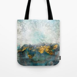 Lapis - Contemporary Abstract Textured Floral Tote Bag