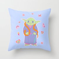 sticker Throw Pillows featuring Yoda Sticker Magic by Noel ILL