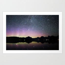 northern lights over lake mcdonald Art Print