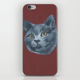 Grey Gray Cat Kitten Head Green Eyed iPhone Skin