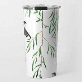 green willow leaf and swallow watercolor Travel Mug