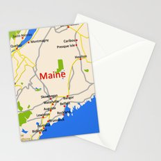 Map of Maine state, USA Stationery Cards