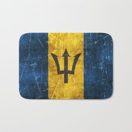 Vintage Aged and Scratched Barbados Flag Bath Mat