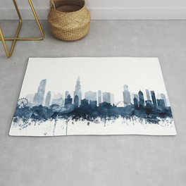 Chicago Skyline Navy Blue Watercolor by Zouzounio Art Rug