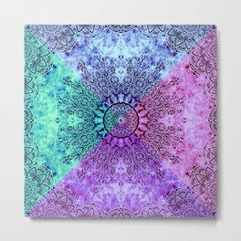 India Pattern Mandala Cloudy Clotting Blue Pink Purple Teal Metal Print