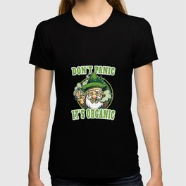 Cannabis Spruch Dont Panic Organic | Bauer mit Hanfblatt T-shirt