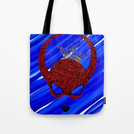 Horns, masked and crowned on blue Tote Bag