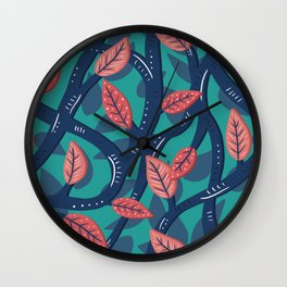 Blue Vines and Red Leaf Pattern Wall Clock