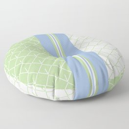 Modern Geometric Diamonds and Retro Stripes Pattern in Blue and Green Floor Pillow