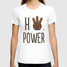 HiiiPower (w/text) : Chocolate Womens Fitted Tee LARGE White