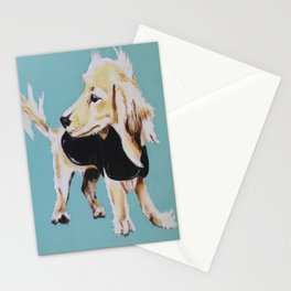 Portrait of Blonde Long Haired Miniature Dachshund on Blue Stationery Cards