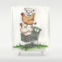 shopping Shower Curtains featuring Shopping by Miranda Currie