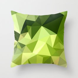 Electric Lime Green Abstract Low Polygon Background Throw Pillow