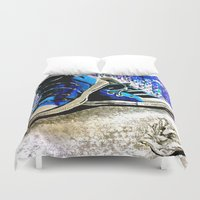 converse Duvet Covers featuring Converse Blues by Frankie Luna III