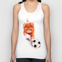 soccer Tank Tops featuring Soccer Kitty by Isaiah K. Stephens