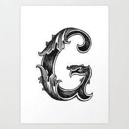 Leaf Script G Art Print