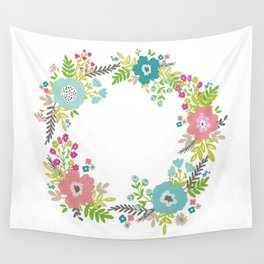 Floral fresh spring wreath Wall Tapestry