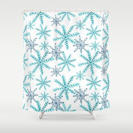 Blue Snowflakes Shower Curtain