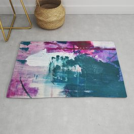 Complexity: a pretty abstract mixed-media piece in teal and purple by Alyssa Hamilton Art Rug