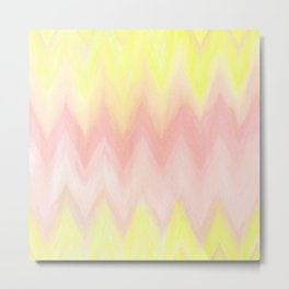 Geometrical blush pink yellow watercolor ikat pattern Metal Print