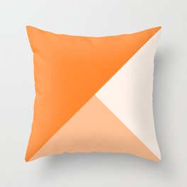 Trinity Color Block Orange Tumeric  FF842A Throw Pillow