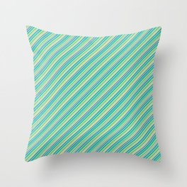 Lime Inclined Stripes Throw Pillow