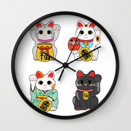 Lucky Cat / Maneki Neko Wall Clock