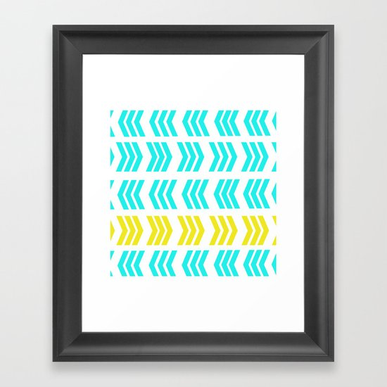 Sunshine Pop and Aqua Zig Zag Framed Art Print