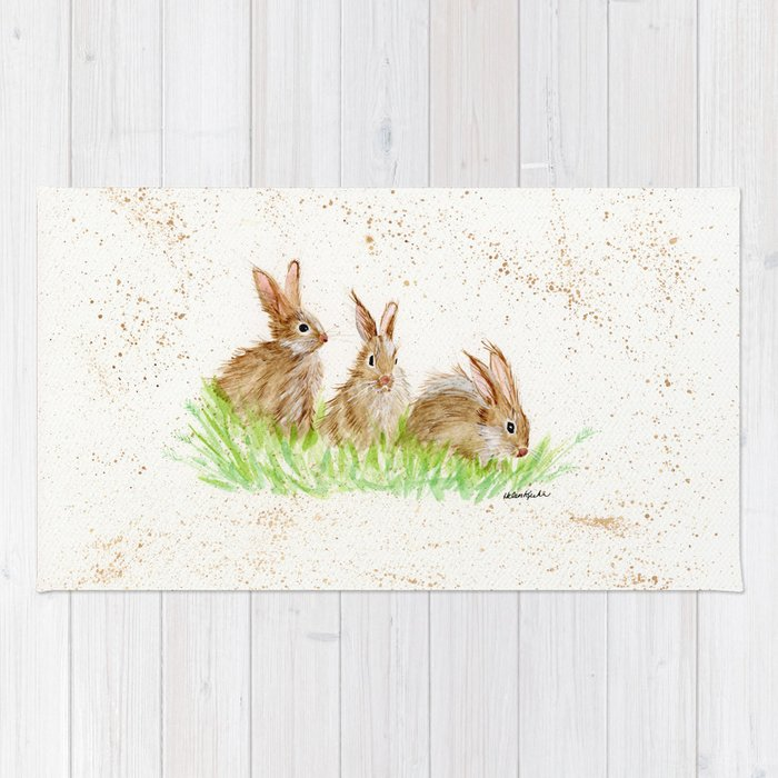 Hoppy Trio Bunnies Animal Watercolor Painting Of Rabbits Rug By