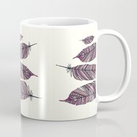 feathers Mugs featuring FEATHERS by Monika Strigel