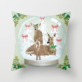 Snow globe deer Throw Pillow