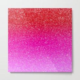 Red/Pink Glitter Gradient Metal Print