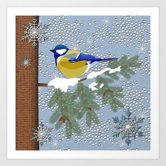 Blue bird in winter Art Print