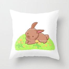 Dandelabbit Throw Pillow