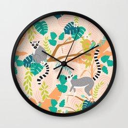 Lemurs in a Peach Jungle Wall Clock