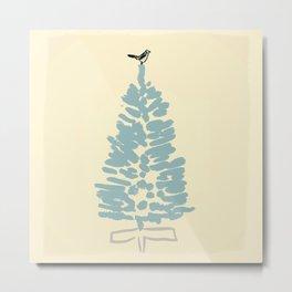A Bird Topping a Christmas Tree Metal Print